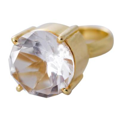 Gold Plated Quartz Single Stone Ring from Peru