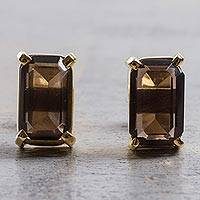 Gold plated smoky quartz stud earrings, 'Dark Windows' - Gold Plated Silver Smoky Quartz Stud Earrings from Peru