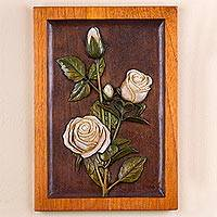 Cedar relief panel, 'The White Rose' - Handcrafted Cedar Wall Relief Panel of Roses from Peru