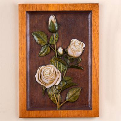 Cedar relief panel, The White Rose