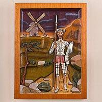 Cedar relief panel, 'Don Quijote of La Mancha' - Cedar Wood Wall Relief Panel of Don Quijote from Peru