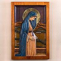 Cedar relief panel, 'Pregnant Virgin of Guadalupe' - Cedar Wood Wall Relief Panel of the Virgin of Guadalupe