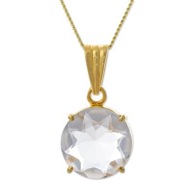 Gold Plated Sterling Silver Quartz Pendant Necklace Peru
