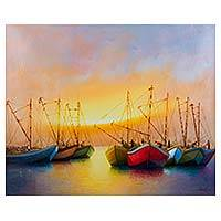 'Ready for Work' (2015) - Peruvian Oil Painting Dawn Seascape in Jewel Colors