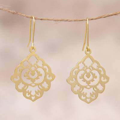 Gold plated sterling silver dangle earrings, 'Floral Rhombus' - Gold Plated Sterling Silver Floral Dangle Earrings Peru