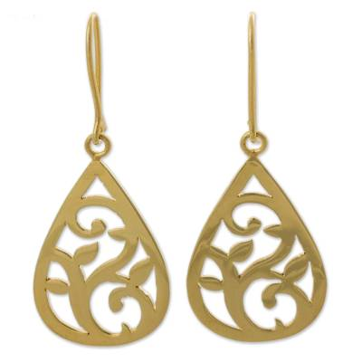 Gold Plated Sterling Silver Dangle Earrings Leaf Motif Peru