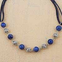Sodalite beaded necklace, 'Floating Planets' - Sterling Silver Sodalite Link Necklace Cotton Cord from Peru