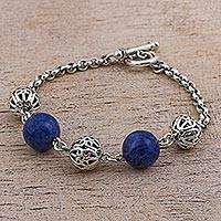 Sodalite beaded bracelet, 'Blue Baubles' - Sterling Silver Sodalite Beaded Bracelet from Peru