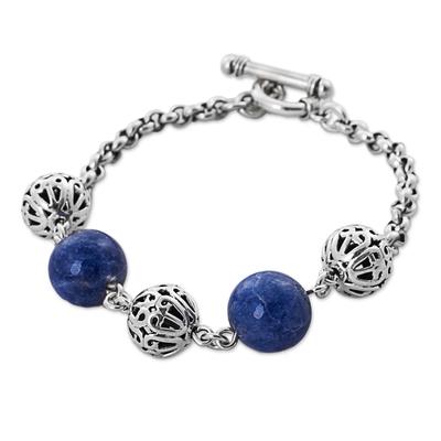 Sterling Silver Sodalite Beaded Bracelet from Peru
