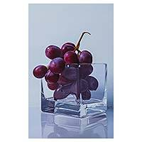 'You Taste of Sweetness' - Purple Grape Hyper Real Still Life Painting fro Peru