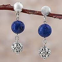 Sodalite dangle earrings, 'Blue Baubles' - Sterling Silver Sodalite Dangle Earrings from Peru