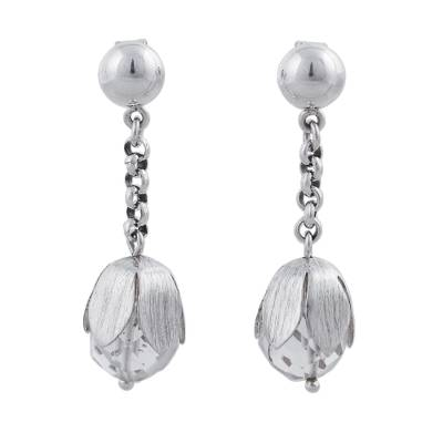 Sterling Silver Quartz Floral Dangle Earrings from Peru