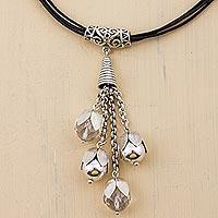 Quartz long pendant necklace,