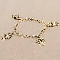 Gold plated sterling silver bracelet, 'Hamsa Charms' - Artisan Crafted Gold Plated Sterling Silver Pendant Bracelet