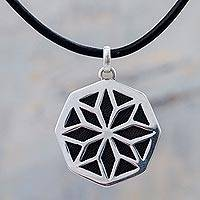 Leather and silver pendant necklace, 'Starlight Eclipse' - 950 Silver and Leather Medallion Necklace Peruvian Jewelry