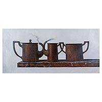 'Metal Still Life' (2015) - Vintage Style Still Life Realist Painting of Metal Tea Pots