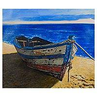 'Dawn' - Boat on Peruvian Shores Inspired Painting Signed by Artist