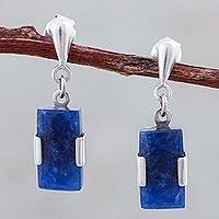 Sodalite dangle earrings, 'Hug' - Artisan Crafted Sterling Silver and Sodalite Post Earrings