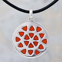 Leather and sterling silver pendant necklace, 'Floral Eclipse' - Artisan Crafted Silver and Leather Medallion Necklace