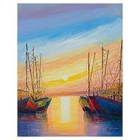 'Breezes at Sunset' - Impressionist Seascape with Sailboats Oil on Canvas