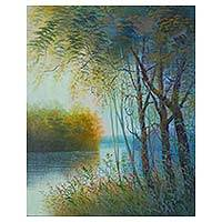 'Light and Trees' - Original Painting of Trees Along the River Shores