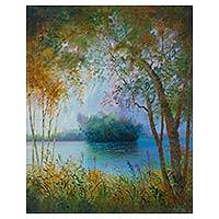 'Between Branches and Trees' - Original River Scene in Oils from the Peruvian Amazon