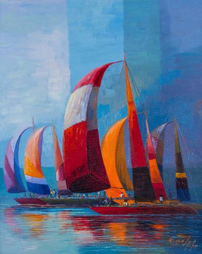 'Colors in the Sea' - Colorful Peruvian Ocean Racing Seascape Painting