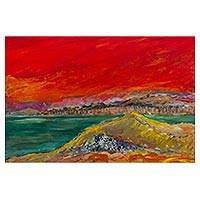 'La Herradura de Chorrillos' - Peruvian Seascape Painting on Wood and Signed by Artist