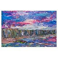 'Cliffs at Dawn' - Blue Impressionist Landscape Painting of the Peruvian Coast