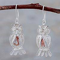 Sterling silver filigree dangle earrings, 'Nocturnal Friend' - Sterling Silver Filigree Owl Dangle Earrings from Peru