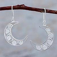 Sterling silver filigree dangle earrings, 'Waxing Moons' - Sterling Silver Filigree Dangle Half Moon Earrings from Peru