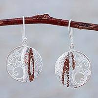 Sterling silver filigree dangle earrings, 'Mokume Circles' - Sterling Silver and Copper Dangle Earrings from Peru