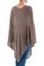 Poncho, 'Brown Tulip Petal' - Long Brown Women's Poncho from Peru (image 2c) thumbail
