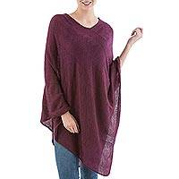 Poncho, 'Maroon Tulip Petal' - Long Maroon Poncho with Zig Zag Pattern from Peru