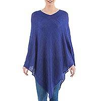 Poncho, 'Indigo Tulip Petal' - Long Indigo Poncho with Zig Zag Pattern from Peru