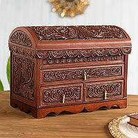 Cedar and leather jewelry box, 'Brave Swan' - Handcrafted Cedar and Leather Jewelry Box from Peru