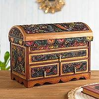 Cedar and leather jewelry box, 'Shimmering Hawk' - Multicolor Cedar Wood and Leather Jewelry Box from Peru