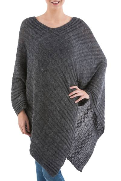 Textured poncho, 'Grey Inca Maze' - Grey Peruvian Poncho with Knit Cable Pattern