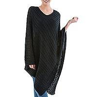 Textured poncho, 'Black Inca Maze' - Long Black Textured Poncho from Peru
