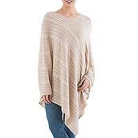 Textured poncho, 'Beige Inca Maze' - Long Beige Poncho with Cable Pattern from Peru