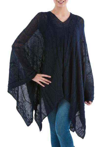 Poncho, 'Navy Earth Cracks' - Asymmetrical Navy Poncho from Peru
