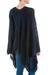 Poncho, 'Navy Earth Cracks' - Asymmetrical Navy Poncho from Peru (image 2c) thumbail