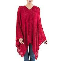Poncho, 'Red Earth Cracks' - Asymmetrical Red Poncho from Peru