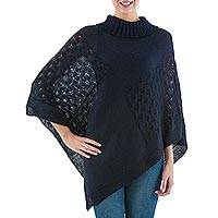 Knit poncho, 'Navy Reality Squared' - Navy Blue Poncho with Turtleneck from Peru