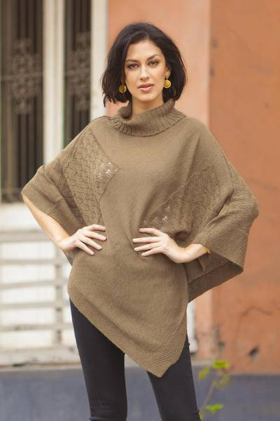 Knit poncho, 'Copper Reality Squared' - Brown Poncho with Turtleneck from Peru