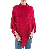 Knit poncho, 'Red Reality Squared' - Red Poncho with Turtleneck from Peru