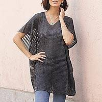 Knit tunic, 'Grey Dreamcatcher' - Grey Short Sleeve V Neck Tunic from Peru