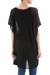 Knit tunic, 'Black Dreamcatcher' - Black Short Sleeve Tunic with V Neck (image 2c) thumbail