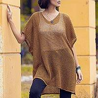 Knit tunic, 'Copper Dreamcatcher' - Knit Copper Tunic with V Neck and Short Sleeves