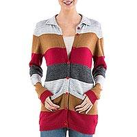 Cardigan sweater, 'Visual Addiction in Red' - Striped Women's Cardigan Sweater from Peru